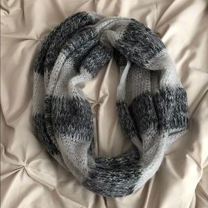 Dark and Light Grey Striped Infinity Scarf